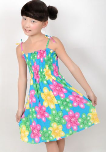 New Girls Dress Yellow Floral Smocked Beach Chirstmas Kids Clothes Size 2-10