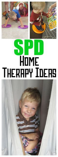 Home Therapy for SPD. All sorts of occupational therapy that parents can do with their sensory kids at home!