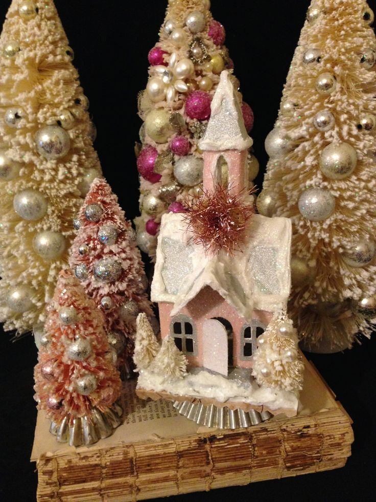 Pink Christmas Village Set~ Putz Church, Pink Bottle Brush Trees, Mini Christmas House, Small Glitter Church, Shabby Chic, Holiday Decor by ThePokeyPoodle on Etsy