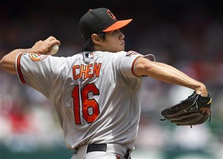 -Baltimore Orioles starting pitcher Wei-Yin Chen (16), of Taiwan ...