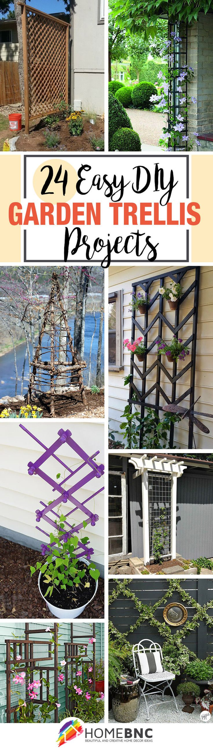 DIY Garden Trellis Projects-BY HOMEBNC-DIY garden trellis projects are a simple way to provide your vining plants with vertical growing space. Adding a trellis to your garden is not only practical but also offers you a perfect opportunity to add some visual interest to your yard.