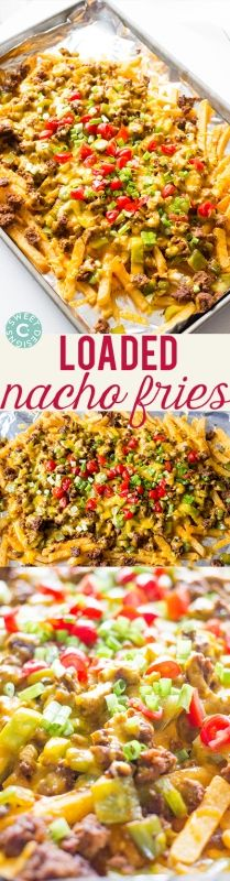 Loaded nacho fries- this is the best football appetizer!