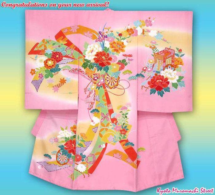 お宮参り着物正絹友禅柄女の子のお祝い着(初着・産着)日本製「ピンク花車に束ね熨斗」HGU439
