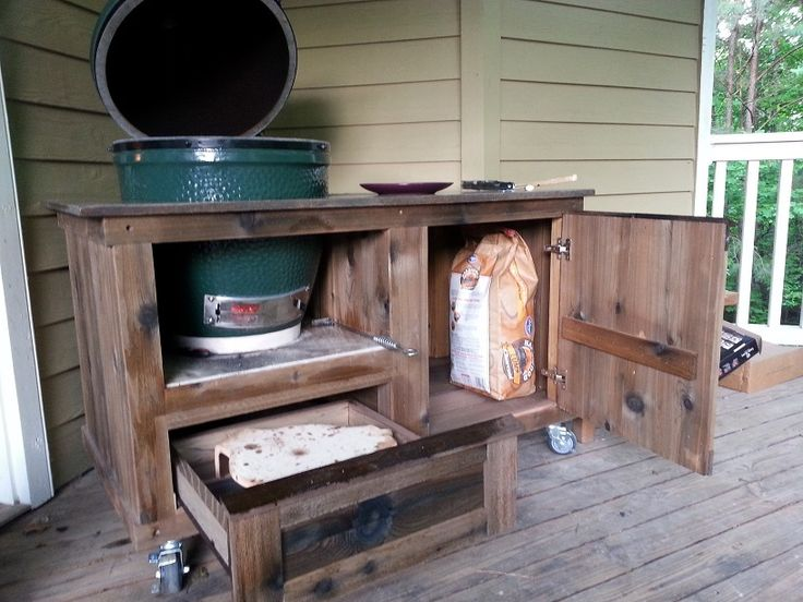 Enough storage space for all of your Big Green Egg needs in our TANK design table.  www.PoshPatios.com