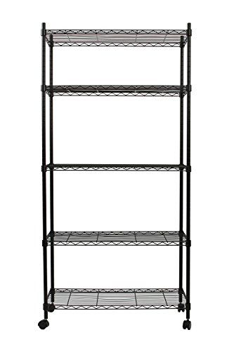 """Finnhomy 5 Tier Wire Shelving Unit, Adjustable Steel Wire Rack Shelving, 5 Shelves Storage Rack with Wheels & Stable Leveling Feet, Black - No more anxiety about messy items scattering around you. Finnhomy 5-Tier Shelving Unit is the perfect storage and organize solution to expand the space in your kitchen, bathroom, office, garage or anywhere you need extra storage. Dimension: - Assembly Size: 30"""" x 14"""" x 60"""" (LxWxH)(include wheels)..."""