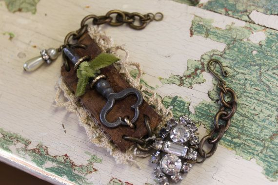 Vintage Inspired Leather and Lace Joined with Vintage Key and Rescued Relics for One of a Kind Bracelet- SET My HEART FREE