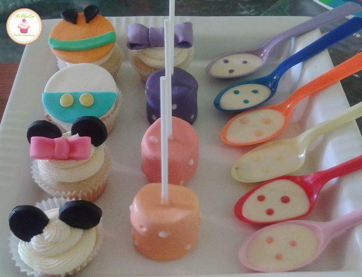 cupcakes, marshpop´s, cucharitas decoradas para mickey mouse y sus amigos
