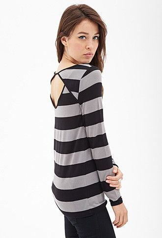 Contemporary Cutout Back Striped Sweater   Forever 21 - 2000121352
