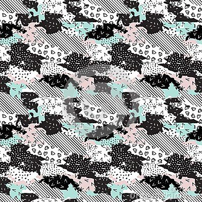 Seamless geometric pattern of different textures. Pastel pink abstract background-vector illustration.