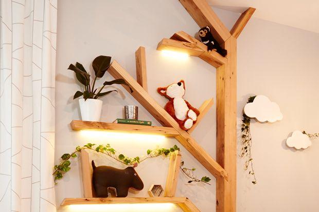 The amazing tree shelf.......Jo and Damo......kids room The Block NZ 2014.