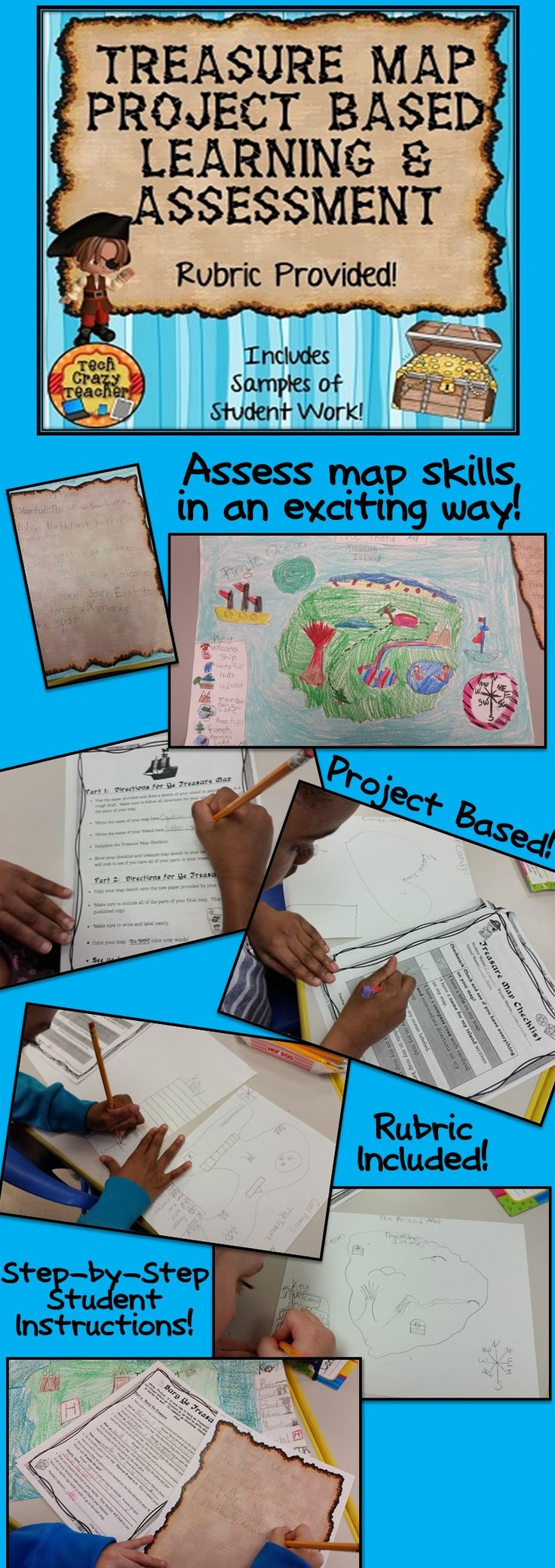 What could be more fun than creating your own island to hide your pirate treasure? Have your students design their own Treasure Map and Island! This project based map skills activity is designed to capture the interests of students while assessing their map skills. Rubric and student examples included!  $