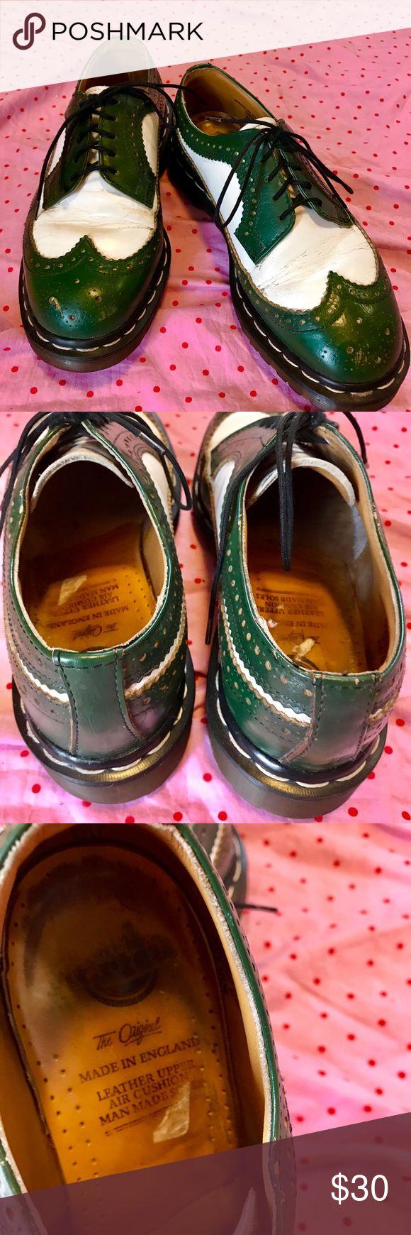 Doc Martin's Oxford Vintage Wingtips, US size 8. Super-awesome green and white oxford wingtips, from Doc Martins.   True vintage, so there are a few expected scuffs here and there (see pics). Frankly I like a bit of wear and softening around the edges on my Doc's.   I'm rePoshing these cuties because they're a true size 8 US (UK 6), and, alas, I'm a 7. Doc Martins Shoes Flats & Loafers