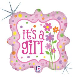 18 Its A Girl Flats Pkg Foil Balloon Pack
