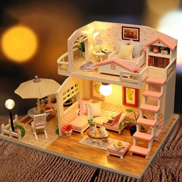 Creative Dollhouse Furniture Chinese Style Wooden Gift Children with Light