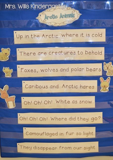 January poems and reading stations for kindergarten! Poetry for arctic animals