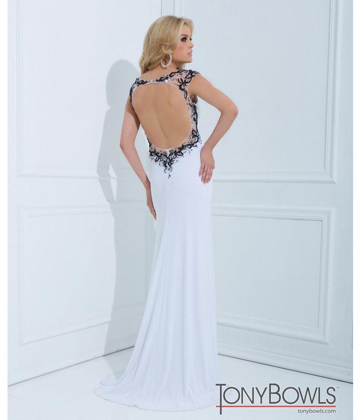Tony Bowls 2014 Prom Dresses - White Jersey & Beaded V-Neck Prom Gown - Unique Vintage - Prom dresses, retro dresses, retro swimsuits.
