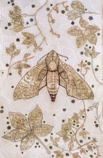 Tracie Noles-Ross - VIRGINIA CREEPER SPHINX   leaf hammered hand sewn quilt   30 x 20 inches