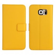 Samsung Galaxy S6 - Genuine Leather Flip Stand Protective Phone Cover Case Wallet - Yellow