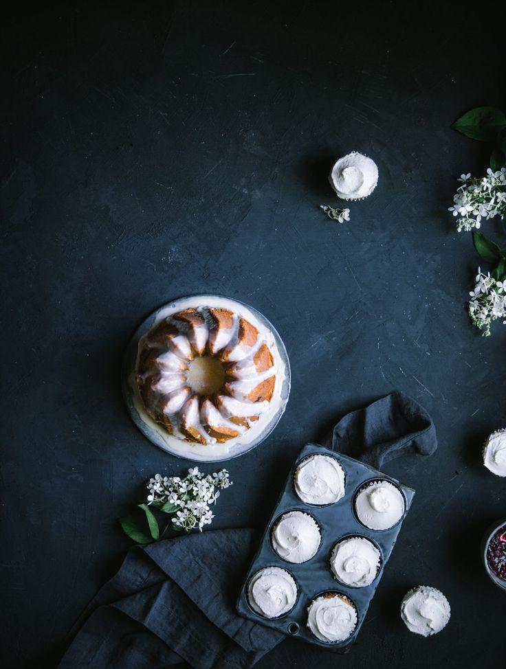 Raspberry Almond Swirl Cake with White Chocolate Glaze & Salted Vanilla Buttercream Cupcakes