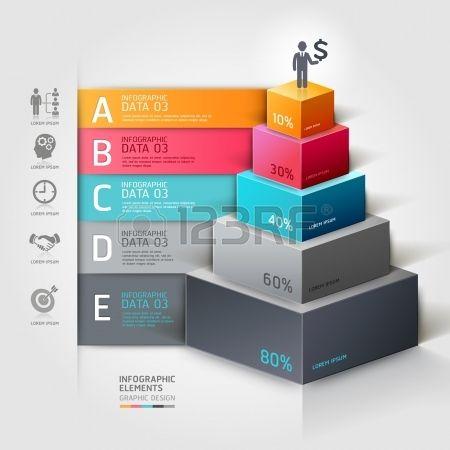 Escalier 3d diagramme options d action de l entreprise moderne  Banque d'images