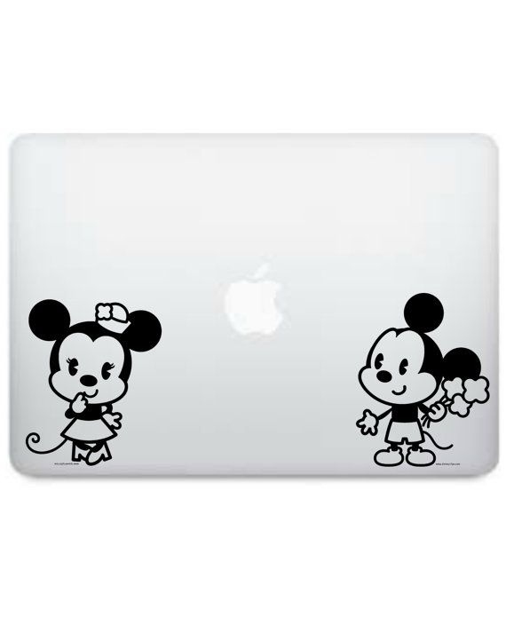 Bambino timido di Disney Mickey Mouse e Minnie bacio con cuore sagoma vinile Macbook Decal