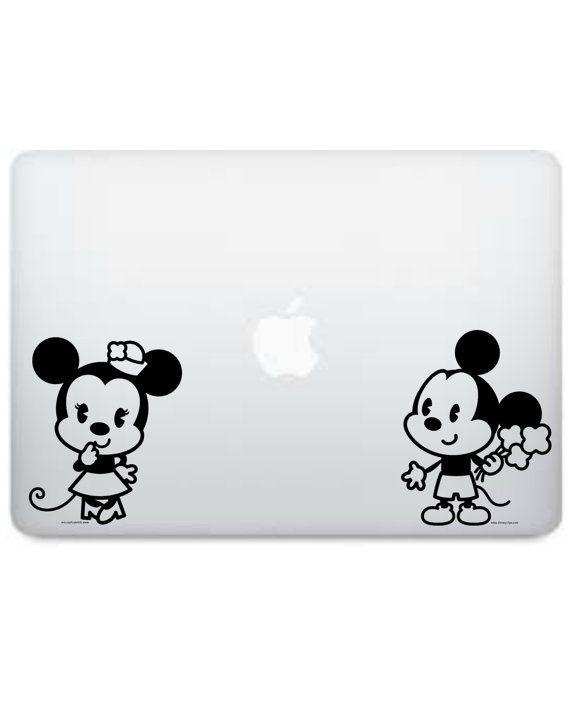 Bambino timido di Disney Mickey Mouse e Minnie bacio con cuore sagoma vinile Macbook Decal