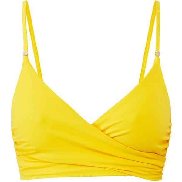 Stella McCartney Embellished Yellow Wrap Bikini Top ($67) ❤ liked on Polyvore featuring swimwear, bikinis, bikini tops, yellow, yellow bikini bottoms, swim tops, strappy bottom bikini, wrap around bikini and tankini tops