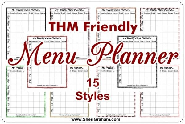 THM FRIENDLY MENU PLANNER PAGES - After I posted the free editable menu planner, someone commented that it would be nice to have one that was more Trim Healthy Mama friendly -- A menu planner that had columns for snacks as well as the main meals.