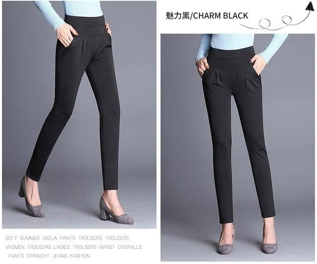 Casual Harem Pants Elastic Pleated Long Pants Trousers High Waist Plus Size 3Xl 4Xl Loose Pants Black XXL