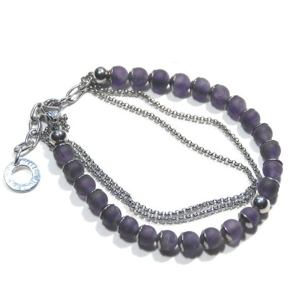 Amethyst friendship bracelet with stainless steel beadcaps, spacers, chain & clasp