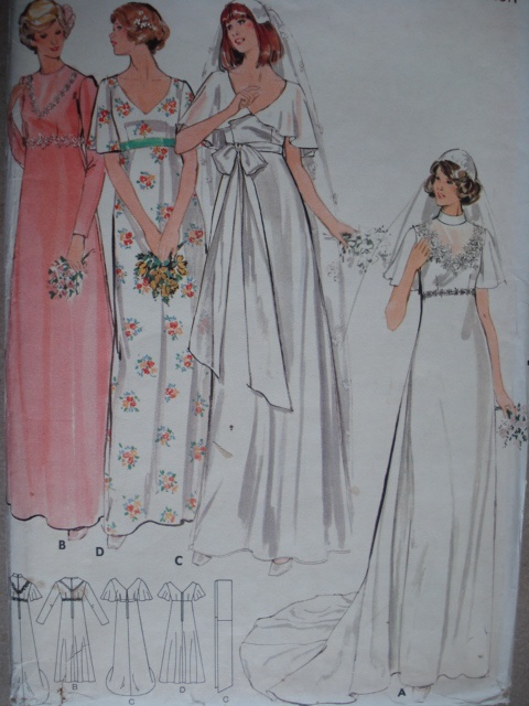 1970s EMPIRE WAIST BRIDAL DRESS WEDDING GOWN PATTERN
