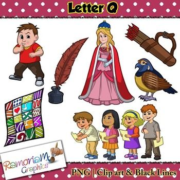 Beginning Sounds, Letter Q Clip art set, commercial use ok. This set contains 7 Letter Q images (total of 21 in color, black outline and black and white). Each image is PNG and 300dp