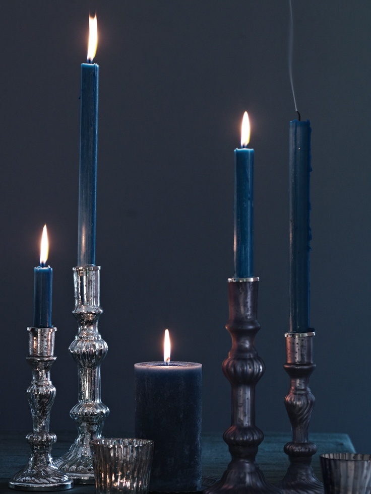 Four Household Candles - teal
