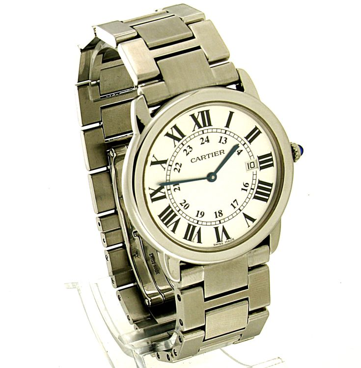 Cartier Ronde Solo Steel uit 2010. Refnr: 2934 - article number: CA0394 #watch #cartier #cartierwatches | cartier watches mens | cartier watch for men | mens jewelry | vintage watches | vintage horloges | horloges heren | SpiegelgrachtJuweliers.com