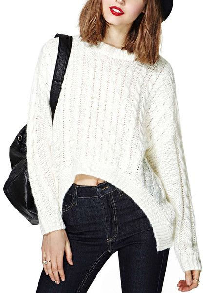 Hi Lo Knit Awfully Pretty Shop's amazing winter white sweater!