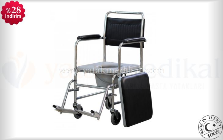 Lazımlıklı Hasta Banyo Arabası   Tekerlekli Hasta Banyo Sandalyesi
