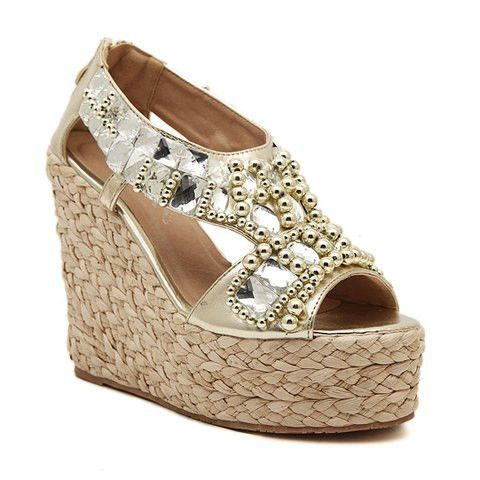 Sandals with rhinestones and weaving design