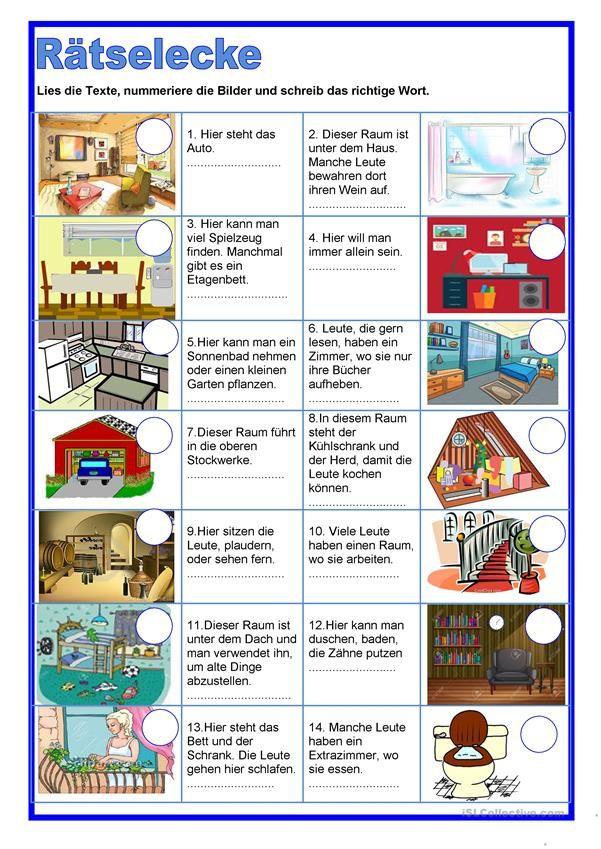 Ratselecke Raume Deutsch Lernen Deutsch Lernen Kinder Deutsch Lernen Spiele