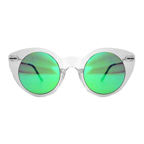 Spitfire Super Symmetry Tr90 Clear/Green Mirror Sunglasses ($43) ❤ liked on Polyvore featuring accessories, eyewear, sunglasses, clear, mirrored lens sunglasses, green mirrored sunglasses, spitfire sunglasses, green mirror sunglasses and clear lens glasses