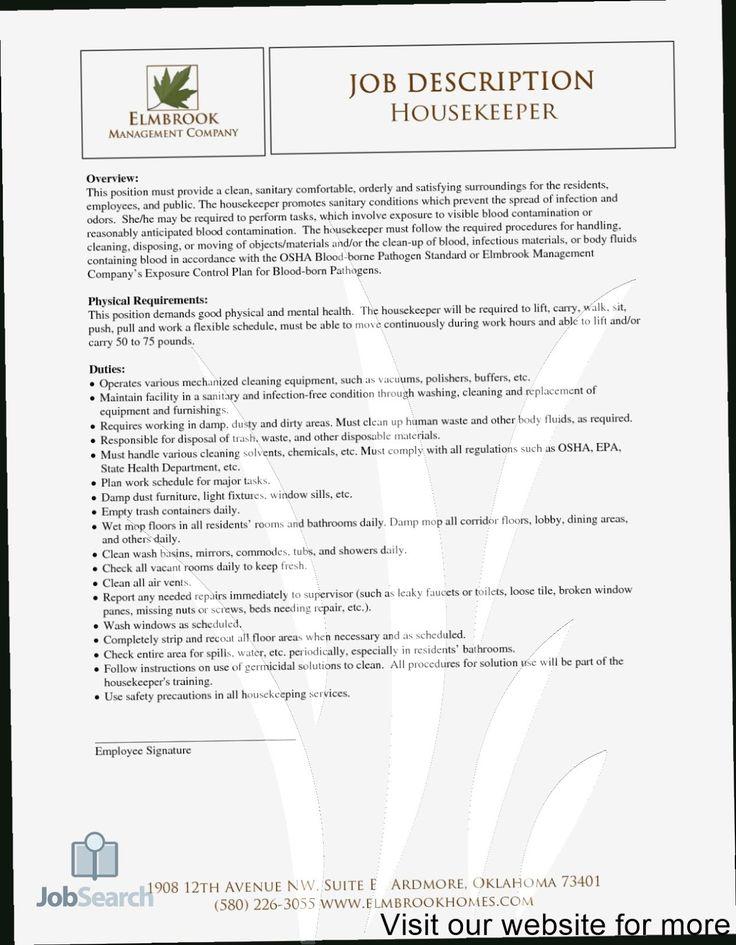 House keeping resume template 2020 housekeeping job