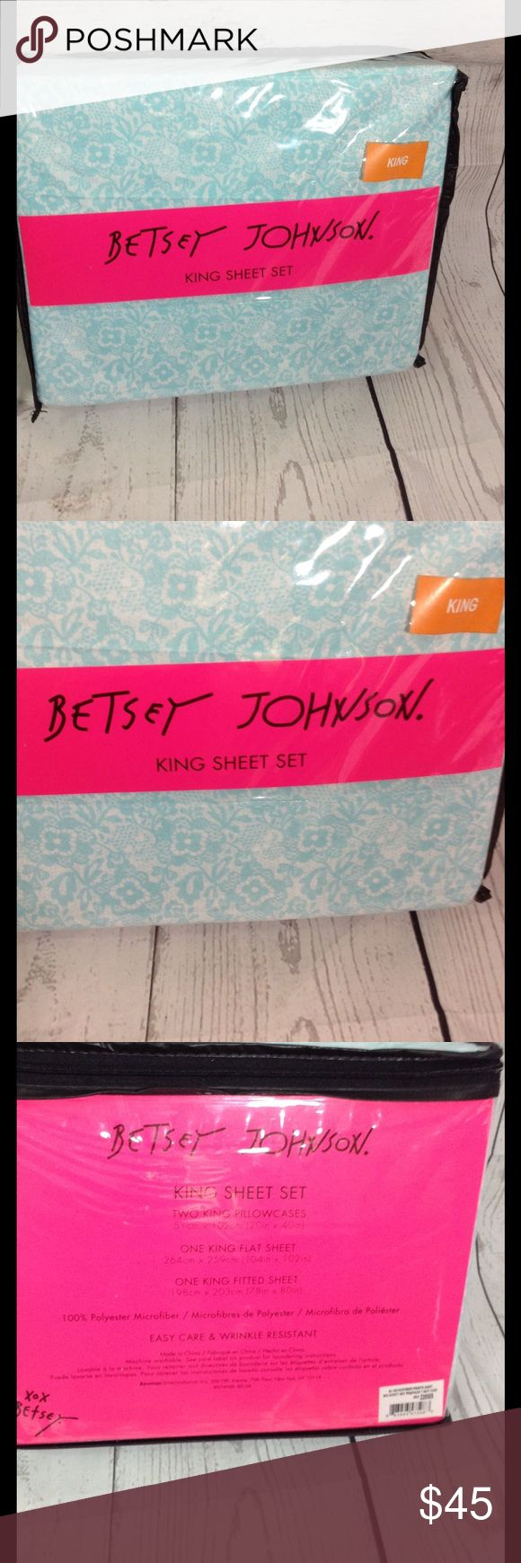 Betsey Johnson king size sheets lace floral Betsey Johnson King size sheets brand new teal and white floral and lace. Betsey Johnson Other