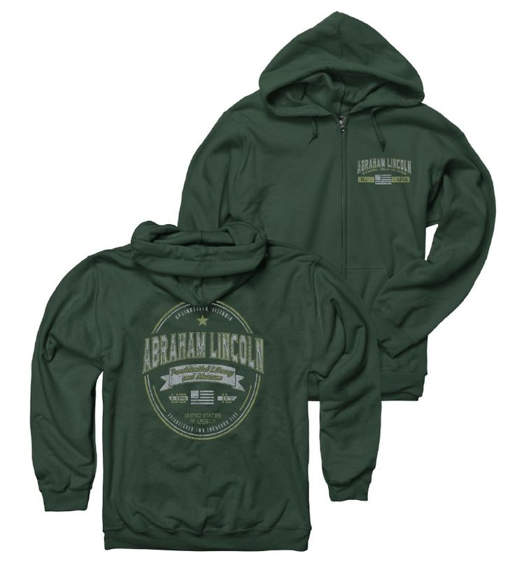 President Lincoln   Adult Forest Green Lincoln Zippered Hoodie Sweatshirt Online Store