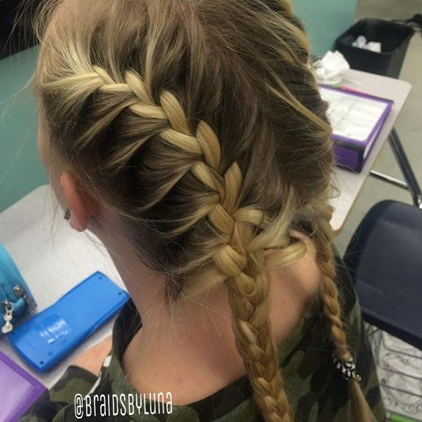 Simple French braids on @zuza.labuda but they look super cool with her roots!