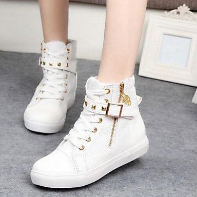 das mulheres sapatos de conforto toe salto rodada baixo tênis Moda lona sapatos mais cores disponíveis – BRL R$ 87,59