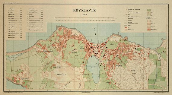 Historic map of Reykjavik -  Old map print - Archival print