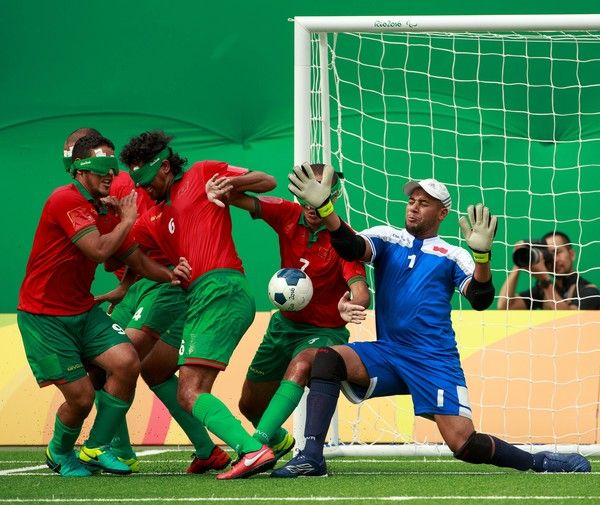 Morocco defend a free kick during the Brazil Vs Morocco in the 5-a-side Football match at the Olympic Tennis Centre during the Paralympic Games, Rio de Janeiro, Brazil, Friday 9th September 2016. Photo by Al Tielemans for OIS/IOC. Handout image supplied by OIS/IOC RESTRICTED TO EDITORIAL USE  / AFP / OIS/IOC / Al Tielemans for OIS/IOC