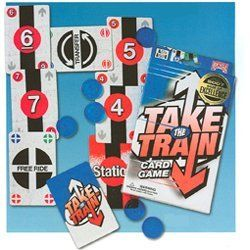 Bicycle Take the Train Card Game by Bicycle. $4.99. Get On Board and Play - Bicycle Games Take the Train™ is a perfect game to pull out after the holiday dinner is long gone, but you still have hours of entertaining to do. Take the Train is a fast-moving sequencing card game where the player with the most Train Fares and the fewest cards at the end of the hand wins! Bicycle Take the Train includes 58 playing cards, 100 Train Fares– cool translucent bright blue...