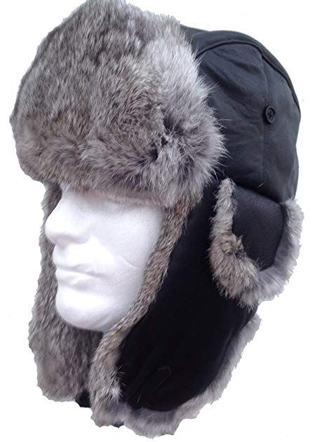 Bombardier Hat - Black Sheepskin and Silver Rabbit Fur - Trooper Aviator  Review 779c4130ac83
