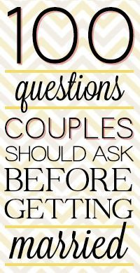 Actually a really good list of questions that couples should have discussed before making the marriage commitment.  Don't agree with some (Is it important to you that I am a virgin?  Ugh.) but otherwise good things to think about in a relationship looking to make the leap.