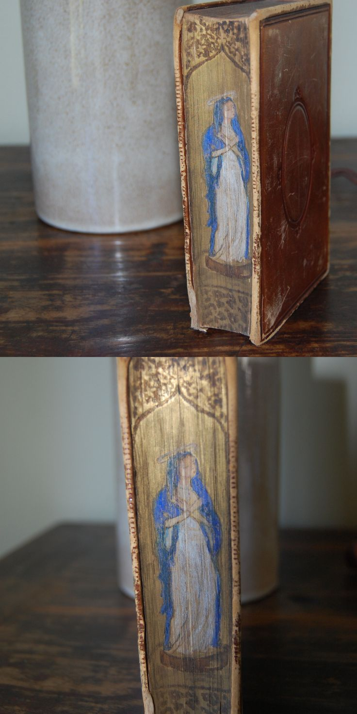 Colour book edges - An 1874 Bible With Fore Edges Hand Painted With A Portrait Of The Virgin